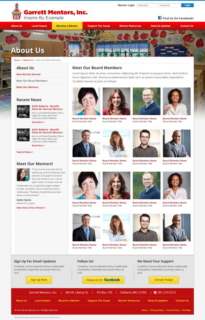 Interior page website design process