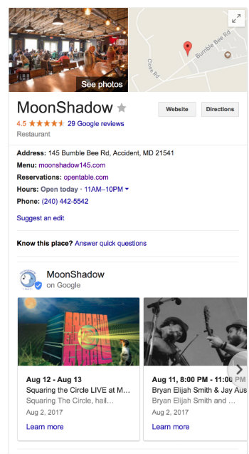 MoonShadow's Google My Business page