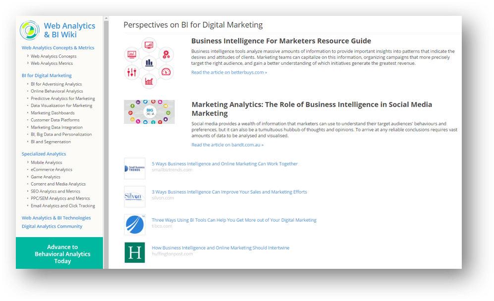 Web Analytics and BI Wiki