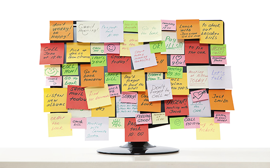 Monitor with post-it notes